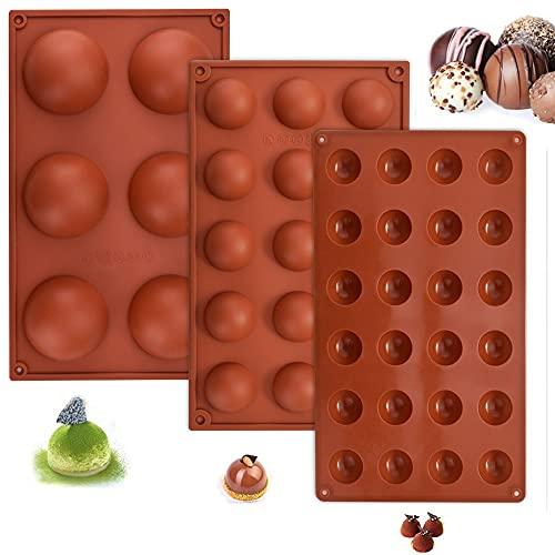 FIGFYOU 3 Stück Halbkugel Silikonform Flexible Silikonbackform Backform Runde Halbkugelform Pralinenform mit 6/15/24 Löchern Schokoladenformen für Kuchen Gelee Pudding Süßigkeiten Schokolade