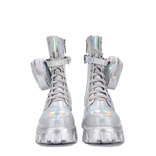 Cape Robbin Monalisa Combat Boots for Women, Platform Boots with Chunky Block Heels, Womens High Tops Boots - Holographic Size 9