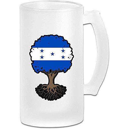 Árbol de la vida con la bandera de Honduras Jarra de cerveza de vidrio esmerilado Stein - Taza de pub...