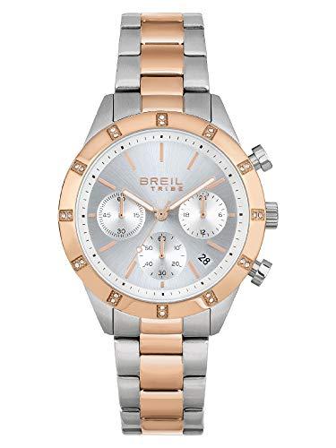 Breil - Reloj de mujer Dazzle, esfera monocroma, color blanco, movimiento de cuarzo y pulsera de acero multicolor EW0520