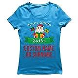 lepni.me Camiseta Mujer Personalizado Nombre Equipo de Еmparejamiento Familia de Santa Claus (Large Azul Multicolor)