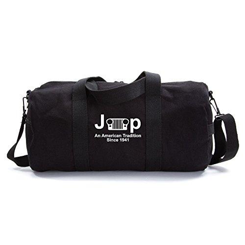 An American Tredition Army Sport Heavyweight Canvas Duffel Bag in Black & White, Medium