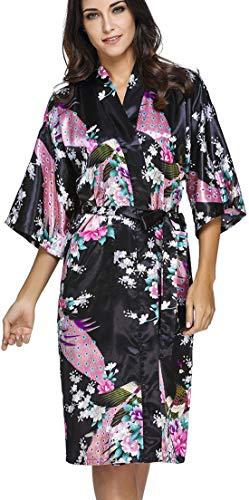 OLIPHEE Mujer Vestido Kimono Floral Satén Largo Pijamas h-M