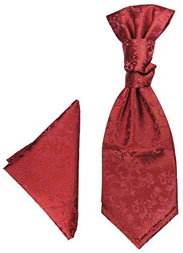 Paul Malone Plastron Set weinrot 2tlg Plastron mit Einstecktuch - Hochzeit Krawatte