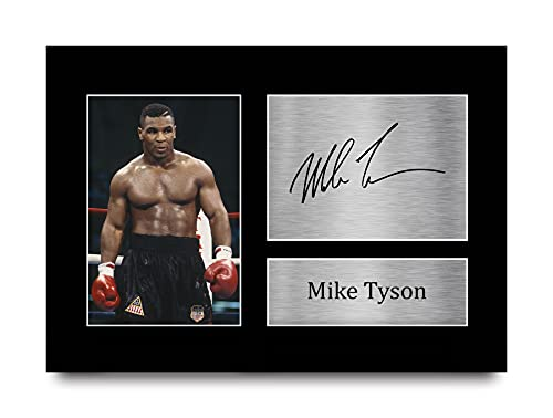 HWC Trading Mike Tyson A4 Sin Marco Regalo De Visualización De Fotos De Impresión De Imagen Impresa Autógrafo Firmado por Los Fanáticos del Boxeo