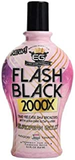 European Gold Flash Black 2000X Indoor Tanning Lotion with Time-Release DHA Bronzers, 12 Ounce