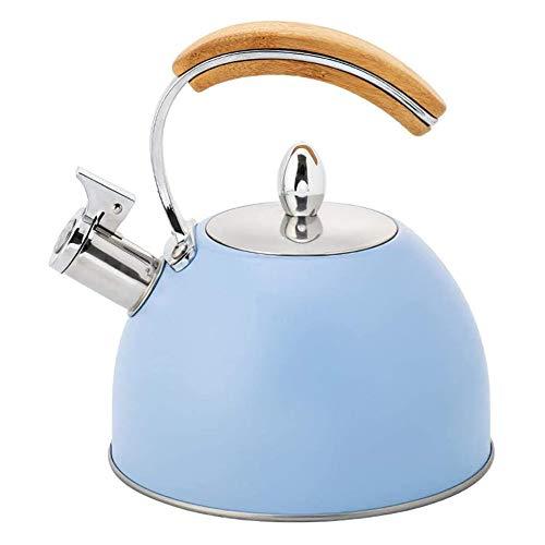 MISTLI Bouilloire en Acier Inoxydable Poignée en Bois Hémisphérique Bleu 3L Sifflet Pot De Chauffage À Induction Fournitures De Cuisine De Ménage,Bleu