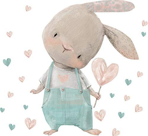 Szeridan Adhesivo decorativo para pared con diseño de conejo y corazones, para habitación de bebé, decoración para habitación infantil, infantil, niña, niño (S, conejo D179)