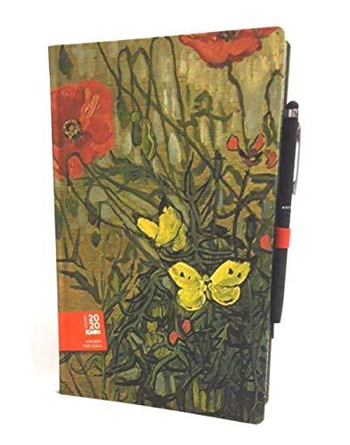 AGENDA KAOS Vincent Van Gogh' Papaveri e farfalle' 2020 12 MESI settimanale 9x14 cm CON ELASTICO + penna touch omaggio + omaggio penna colorata + omaggio segnalibro