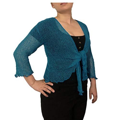 Tuta e tuta da donna, tinta unita, a maglia, con lacci Verde petrolio. Taglia unica