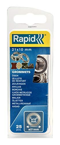 Rapid Ösen mit Scheiben 10mm, 25 Stk. Set Inkl. Einschlagwerkzeug, silberfarbig stahl