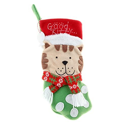 jojofuny Calcetín Bolsa Regalo Colgante Decoraciones de Árbol de Navidad Porta Tarjetas Bolsas en Efectivo con Gato para Chimenea Colgando Decoraciones de Navidad