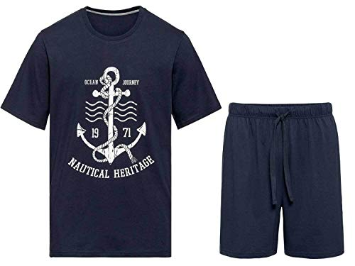 Livergy Herren Sommerpyjama Pyjama Shorty mit Eingrifftaschen Navy 4XL