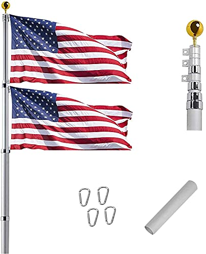 16FT Telescoping Flag Pole Kit, Heavy Duty 16 Gauge Aluminum Outdoor In Ground Flag Poles with 3x5 USA Flag, for Residential or Commercial,Garden Flag Pole