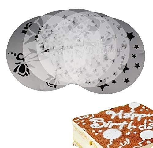 5 Stück Kuchendekoschablonen Set Tortenschablone Dekorschablone Kuchendeko Tortendeko Kuchen Torten verzieren Tortentattoo Dekoschablone Happy Birthday Herz Sterne Weihnachten Kuchen Torten Deko Zuckerbäcker