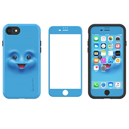 LUVVITT [Emoji] Armor Case and Tempered Glass Set for iPhone 7 / iPhone 8 - Bundle Blue