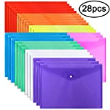 EOOUT Poly Envelope Folder 28pcs 8 Color Clear Plastic Envelope with Snap Button Closure A4 Size/Letter Size, for School Office