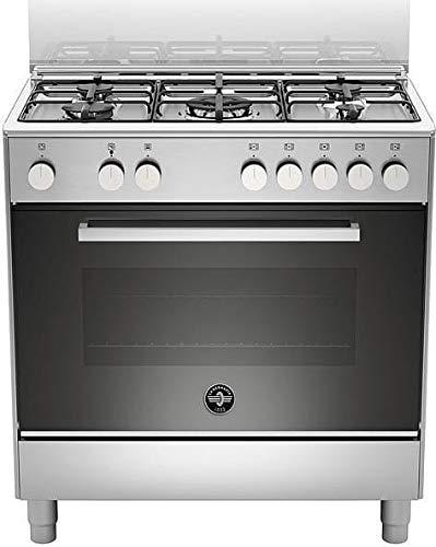 Cocina de gas con horno eléctrico, N° 5 fuegos, 80 x 50 cm, color acero inoxidable, serie Futura