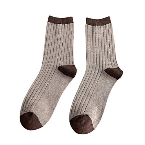 ECMQS - Calcetines largos para hombre de punto con rayas verticales, color de contraste marrón