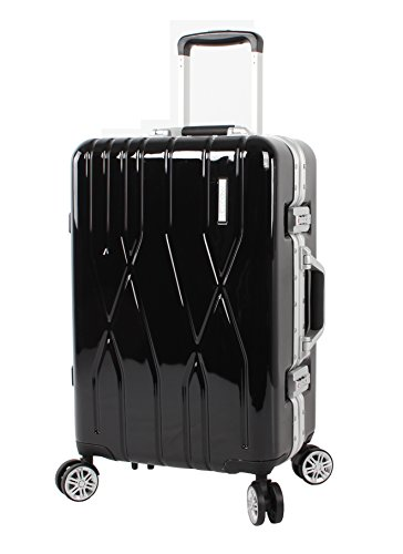 Andiamo Elegante Suitcase with Built-in TSA Lock - Zipperless 20 Inch Hardside Carry On Bag- Lightweight (ABS+PC) Luggage With 8-Rolling Spinner Wheels (Black Pearl)