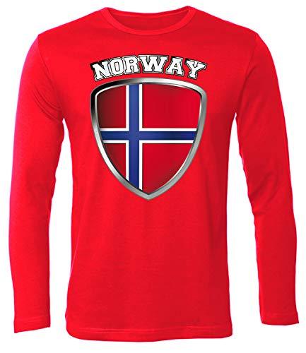 Norwegen Norway Norge Fan t Shirt Artikel 4704 Fuss Ball Langarm Longsleeve EM 2020 WM 2022 Trikot Look Flagge World Cup Jersey Männer Herren XL