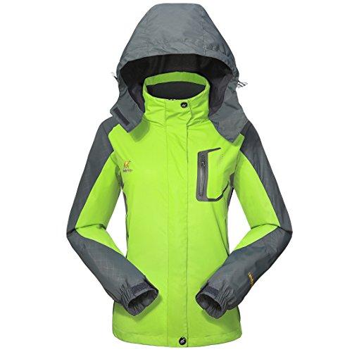 GIVBRO Damen Softshell Regenjacke 2017 Neues Design Sport Wasserdichte Outdoorjacke Atmungsaktive Multifunktions Funktionsjacke Jacke,Grün,EU 40(Herstellergröße:L)
