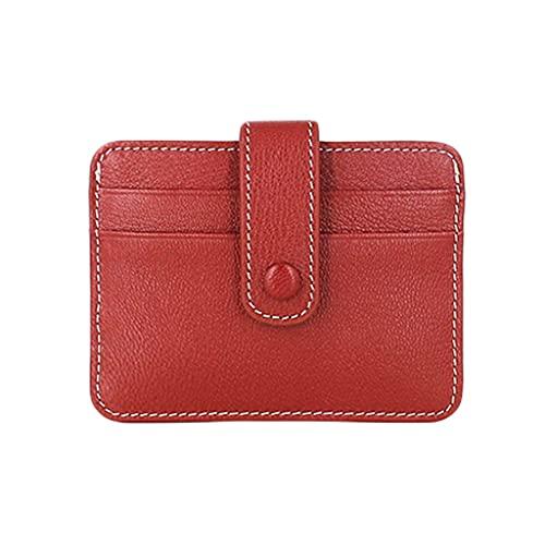 GDSSX Front Pocket Wallet Tarjeta Delgada Caja de la Tarjeta Monedero Monedero Monedero portátil Monedero Monedero para Hombres Mujeres Minimalista (Color : Red)