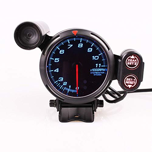 YUQIYU Defi 3,75 Pulgadas 80mm 7 Colores 0-11000 RPM del Motor de Pasos del tacómetro tacómetro con Shift Light for el Coche Auto (Color : White)