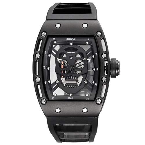 CXJC Relojes de cuarzo deportivos a prueba de agua para hombres, manos luminosas relojes mecánicos de cráneo hueco, relojes personalizados de moda y relojes decorativos de mujeres (Color : Negro)
