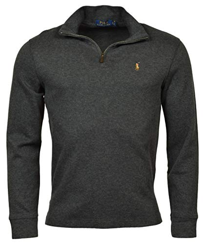 POLO RALPH LAUREN Men Half Zip French Rib Cotton Sweater (L, GreySigPony)