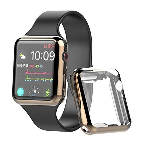 Hülle für Apple Watch Series 5 / Series 4 Bildschirmschutz Folie 40 mm ultradünne Schutz für Apple iwatch Screen Protector 4 Color Edition(Gold 44MM)