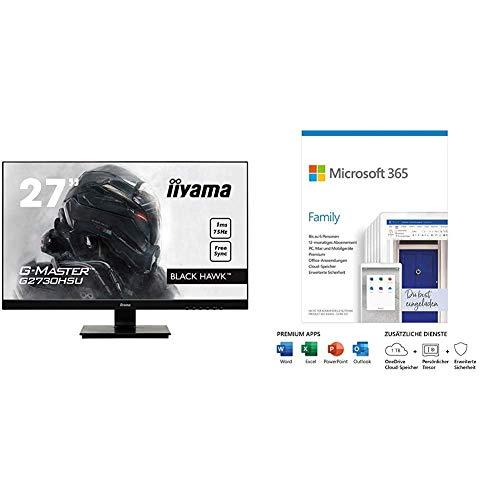iiyama G-Master Black Hawk G2730HSU-B1 68,58 cm (27 Zoll) Gaming Monitor (VGA, HDMI, Microsoft 365 Family | 6 Nutzer | Box
