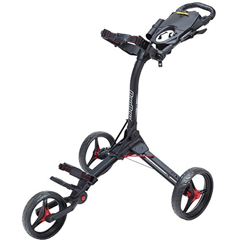 Bag Boy Compact 3 Push Cart, Matte Black/Red