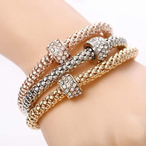 LIUL 3 Unids/Set Crystal Owl Heart Charm Pulseras Brazaletes Aleación de Oro Elefante Colgantes Pulseras de Diamantes de imitación