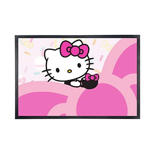 """Alfombra de suelo no tejida, cómoda, alfombra de entrada de goma, transparente, diseño Hello Kitty Png (15 """"× 25""""), color negro"""