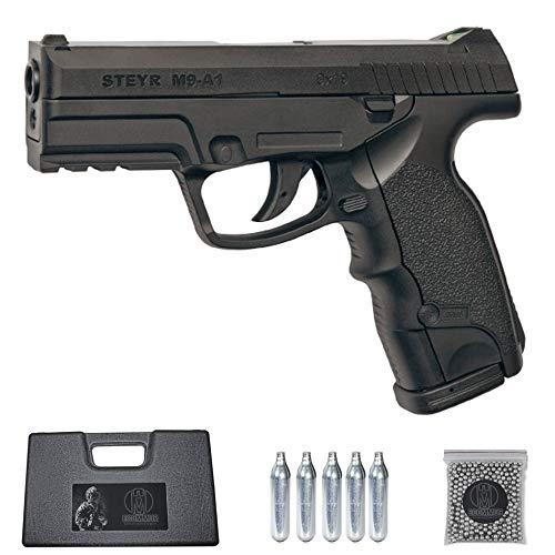 Ecommur. M9-A1 Steyr-ASG   Pistola de perdigones (Bolas BB's de Acero) de Aire comprimido semiautomática 4,5mm + maletín + balines y CO2