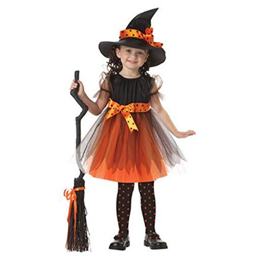 Viesky peuter meisje heks cosplay kostuum kinderen korte mouw jurk met polka stip lint puntige hoed voor halloween sprookjesachtige partij rekwisieten