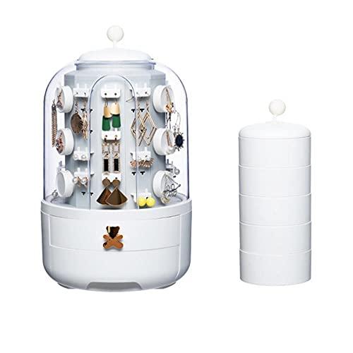 Organizador de joyería giratorio 360 Caja de almacenamiento de cosméticos Organizador de maquillaje transparente Collar de pendientes Organizador de escritorio-3