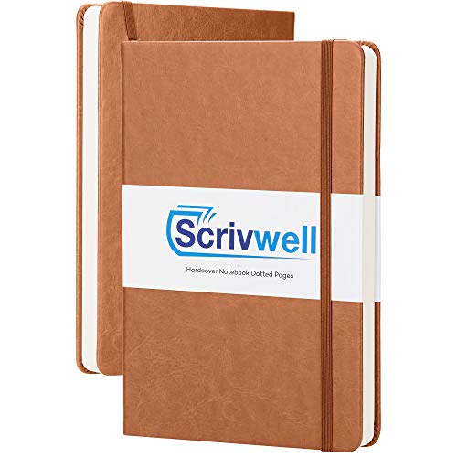 Scrivwell Dotted A5 Hardcover Notebook - 208 Dotted Pages with Elastic Band, Two Ribbon Page Markers, 120 GSM Paper, Pocket Folder - Great for Bullet journaling - Brown