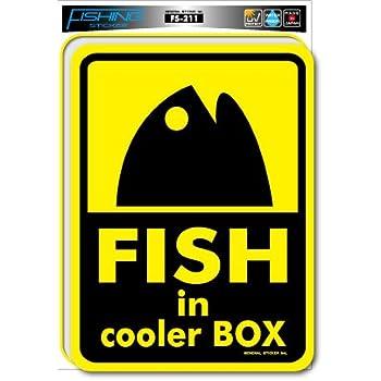 FS-211 釣りステッカー FISH in cooler BOX 大 ステッカー