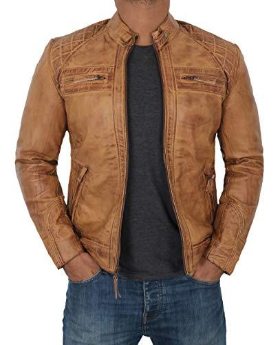 Decrum Genuine Leather Jacket Men - Mens Brown Leather Jacket | [1103176] D1 Camel, 2XL
