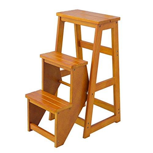 Petit support en bois d'intérieur de tabouret d'échelle de 3 niveaux pour le balcon de salon