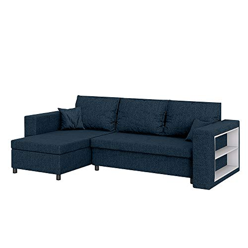 Selsey MERIEN - Ecksofa/Schlafcouch mit wasserabweisendem Veloursbezug, Bettkasten und integriertem Regal, 230 cm breit (Dunkelblau)