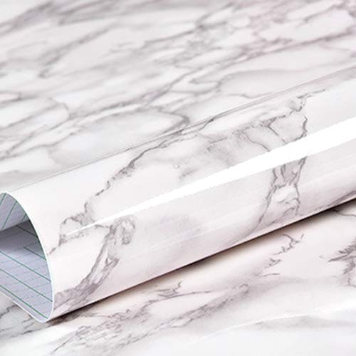 White Gray Marble Wallpaper for Old Furniture Dresser Wallpaper Waterproof Oil-Proof Kitchen Countertop Removable Self-Adhesive Film Granite Contact Paper Updated White Attached Ruler Scale