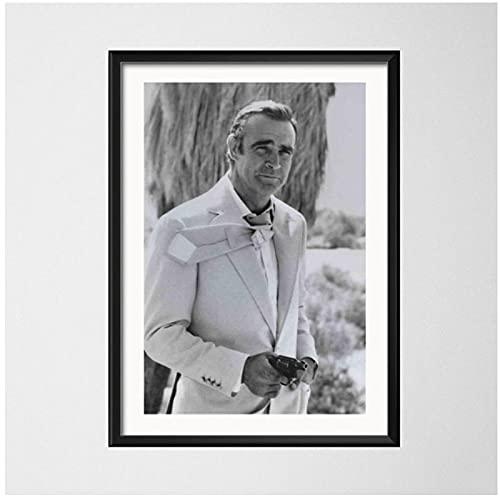 WEUEWQ Manifesto Poster e Stampe Sean Connery 007 Film Classico su Tela Pittura Immagini a Parete per Soggiorno Decorazioni per la casa Decorative Vintage -60x80cmx1 Senza Cornice
