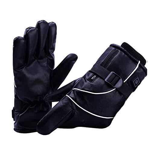 Guanti riscaldati elettrici ricaricabili con USB, per uomo e donna, guanti riscaldati caldi invernali, guanti universali in pelle PU, 3 modalità di regolazione della temperatura