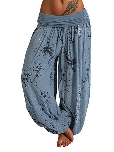 ORANDESIGNE Damen Hosen Lang Bedrucken Pumphose Haremshose Sommerhose Yogahose Aladinhose Baggy Harem Stil mit Elastischen Bund 02 Blau S