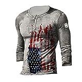 Camiseta de Manga Larga con Estampado Cruzado Vintage para Hombre, Camisetas Henley con Bandera Americana, Manga Larga