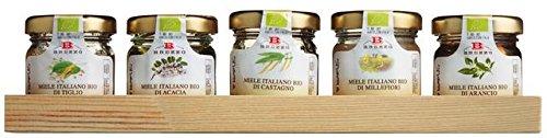 Honig Bio Geschenkset | Minigläser auf Holztablett | 5x35g