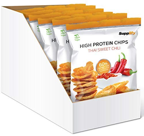 Supplify Protein Chips - Eiweiß Fitness Snack Mix Box, Whey Proteinpulver und Protein Riegel, ideal zum Abnehmen oder als Muskelaufbau Booster- 6x 50g, Thai Sweet Chili (vegan)